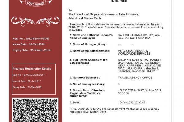 vs global travel registration
